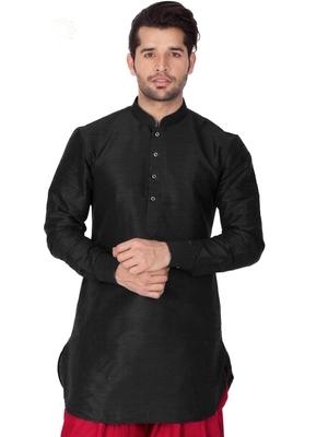Black plain cotton silk men-kurtas