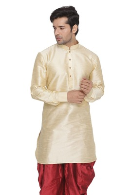 Gold Plain Blended Cotton Men-Kurtas