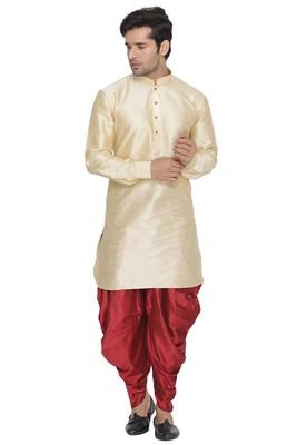 Gold plain blended cotton dhoti-kurta