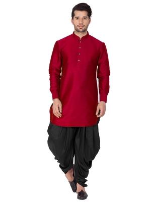 Maroon plain cotton silk dhoti-kurta