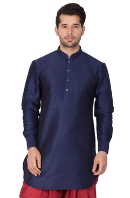 Blue plain cotton silk men-kurtas