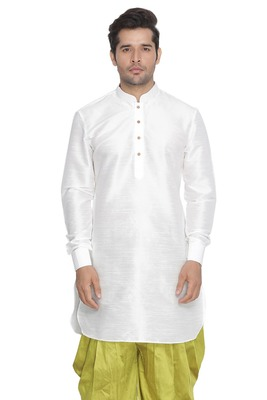 White plain blended cotton men-kurtas