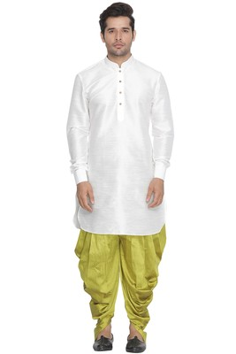 White plain blended cotton dhoti-kurta