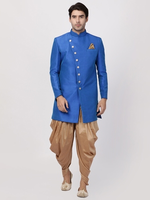 Blue Plain Blended Cotton Sherwani