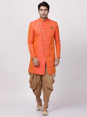 Orange Plain Blended Cotton Sherwani