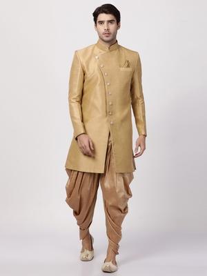 Beige Plain Blended Cotton Sherwani