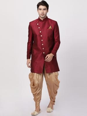Maroon Plain Blended Cotton Sherwani