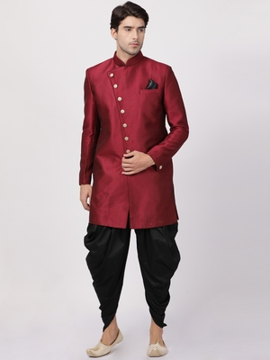 Maroon Plain Blended Cotton Sherwani