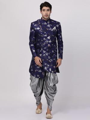 Blue Plain Blended Cotton Sherwani