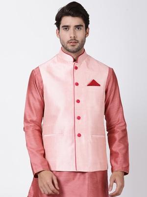 Pink plain blended cotton nehru-jacket
