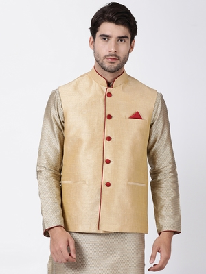 Beige Plain Blended Cotton Nehru Jacket