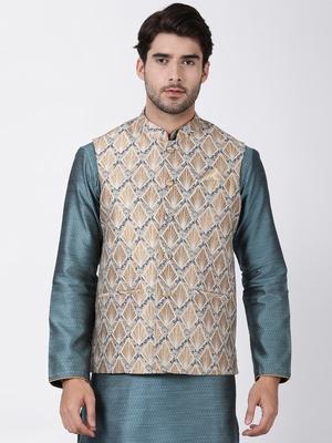 Gold plain blended cotton nehru-jacket
