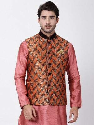 Multicolor plain blended cotton nehru-jacket