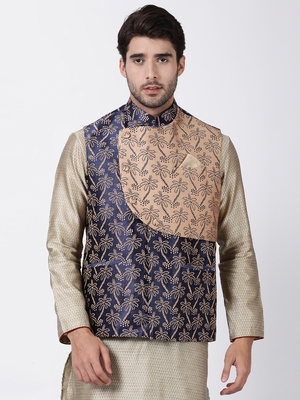 Blue plain blended cotton nehru-jacket
