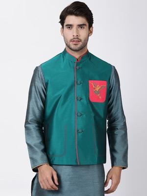 Green plain blended cotton nehru-jacket