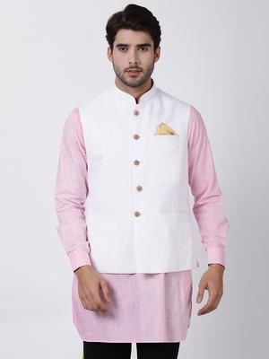White Plain Cotton Nehru-Jacket