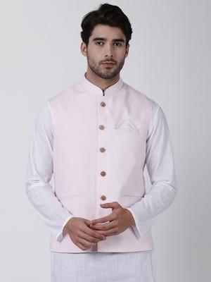 Pink Plain Cotton Nehru-Jacket