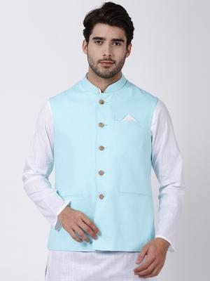 Blue plain cotton nehru-jacket