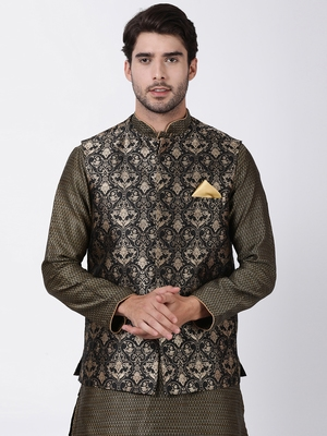 Black plain blended cotton nehru-jacket