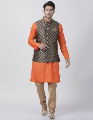 Orange plain blended cotton kurta-pajama