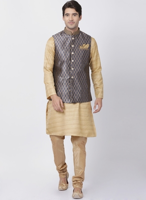 Beige plain blended cotton kurta-pajama