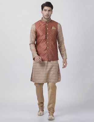 Gold plain blended cotton kurta-pajama