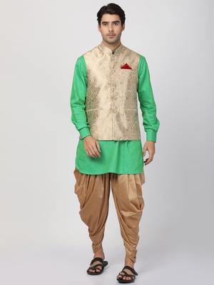 Green plain blended cotton dhoti-kurta