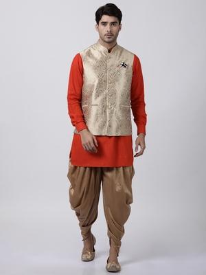 Red plain blended cotton dhoti-kurta