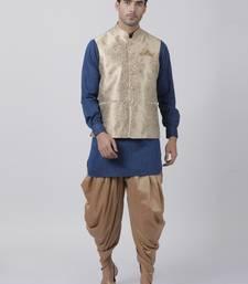 Blue Plain Blended Cotton Dhoti Kurta