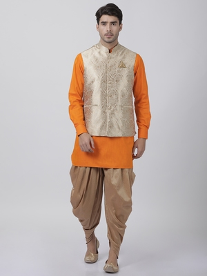 Orange plain blended cotton dhoti-kurta