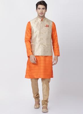 Orange plain blended cotton kurta-pajama