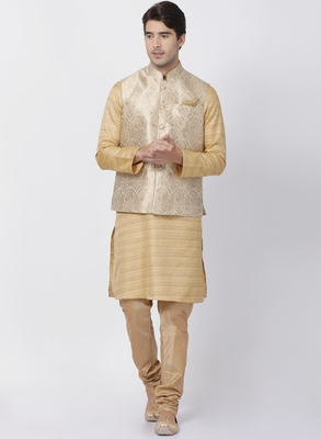 Beige Plain Blended Cotton Kurta Pajama