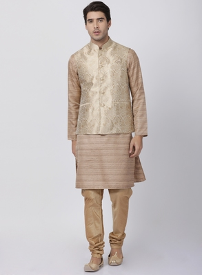 Gold Plain Blended Cotton Kurta Pajama
