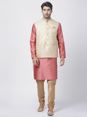 Pink Plain Blended Cotton Kurta-Pajama