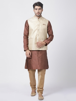 Maroon Plain Blended Cotton Kurta-Pajama