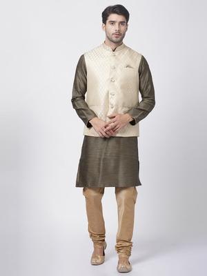 Black plain blended cotton kurta-pajama