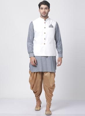 Grey Plain Cotton Dhoti-Kurta