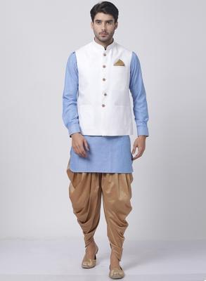 Blue plain cotton dhoti-kurta