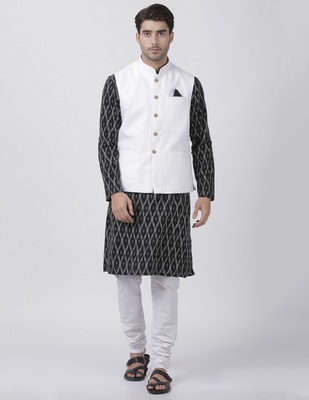 Black plain cotton dhoti-kurta