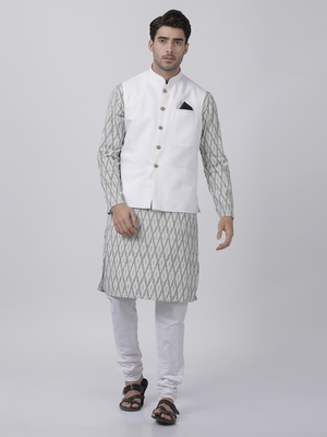 White Plain Cotton Dhoti-Kurta