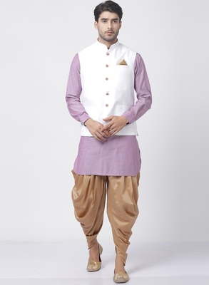 Purple Plain Cotton Dhoti-Kurta