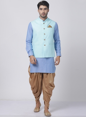 Blue plain cotton dhoti-kurta