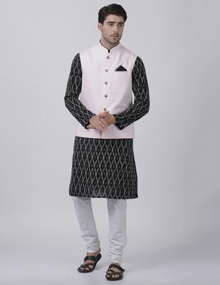 Black Plain Cotton Dhoti-Kurta