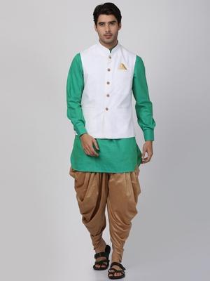 Green Plain Cotton Dhoti-Kurta