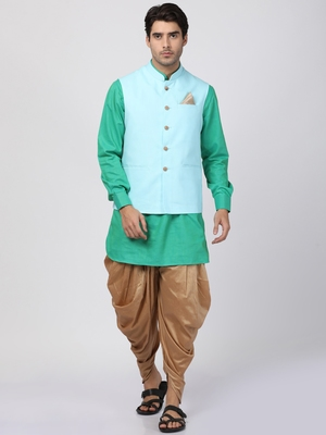 Green plain cotton dhoti-kurta