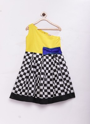 Yellow woven cotton silk kids-frocks
