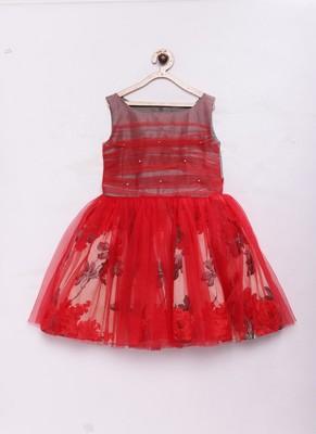 Red woven raw silk kids-frocks