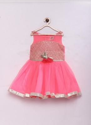 Pink woven net kids-frocks