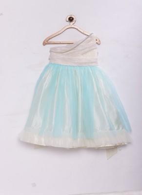 Blue woven satin kids-girl-gowns