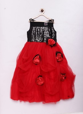 Red woven cotton silk kids-girl-gowns